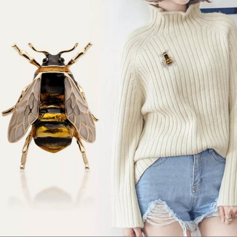 Creative New Fashion Style Colorful Bee Insect Brooch Pin Gold Color Suit Decorations Jewelry