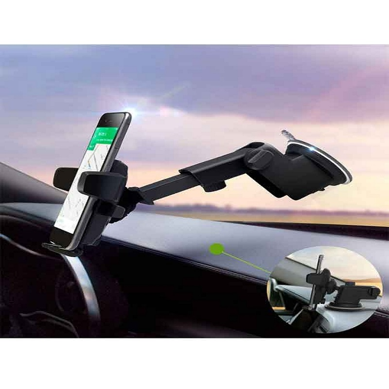 Universal Suction Cup Long Handle Car Mobile Holder - Black