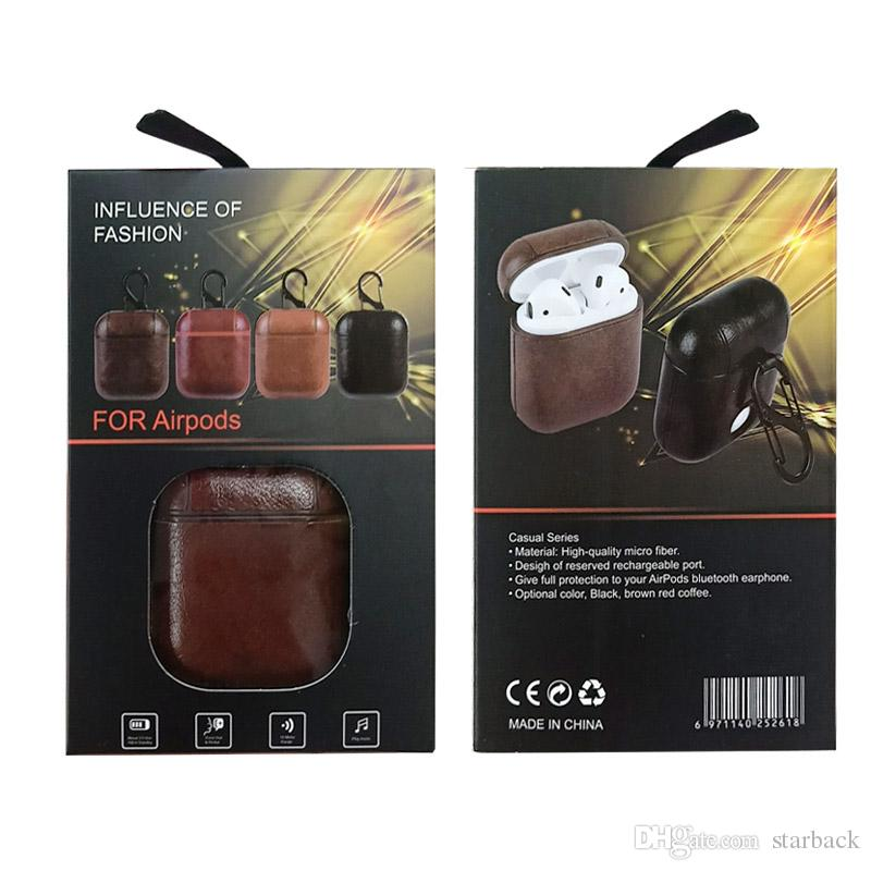 Apple Airpods Leather Protective Shell Case Dark Brown
