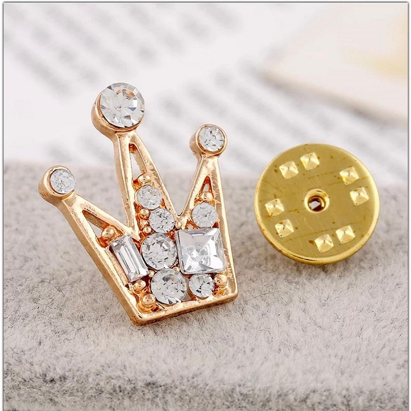 Clothes Buckels Rhinestone Small Queen Crown Brooch For Men And Women Gold