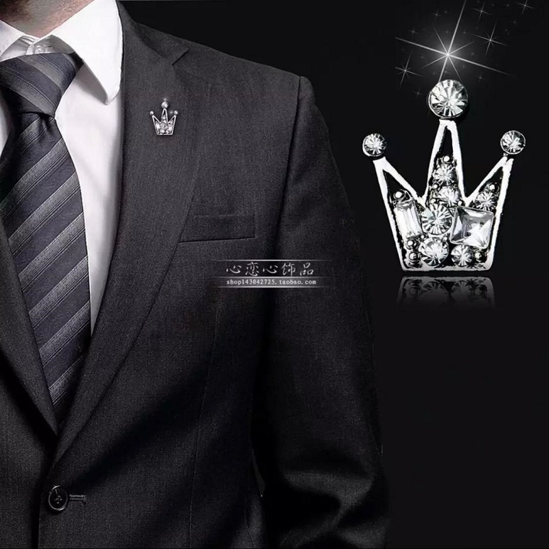 Clothes Buckels Rhinestone Small Queen Crown Brooch For Men And Women Silver
