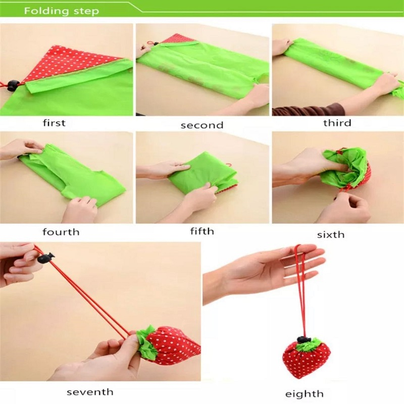 Pack Of Three Portable Strawberry Folding Bag Reuse-able Eco Friendly Shopping Pouch Nylon