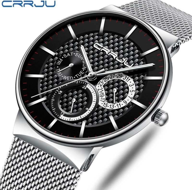 Fashion Business Calendar Watch for Men CRRJU Brand Casual Wristwatch with Stainless Steel