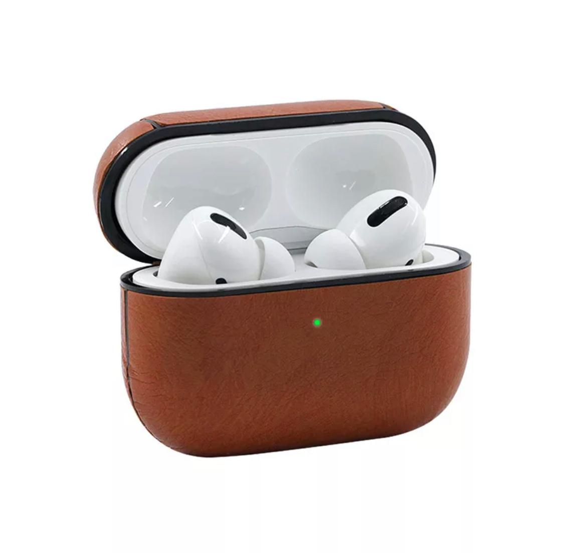 Protective Case For New Apple Air Pods Pro Leather Wireless Charging Case Protective Cover Brown