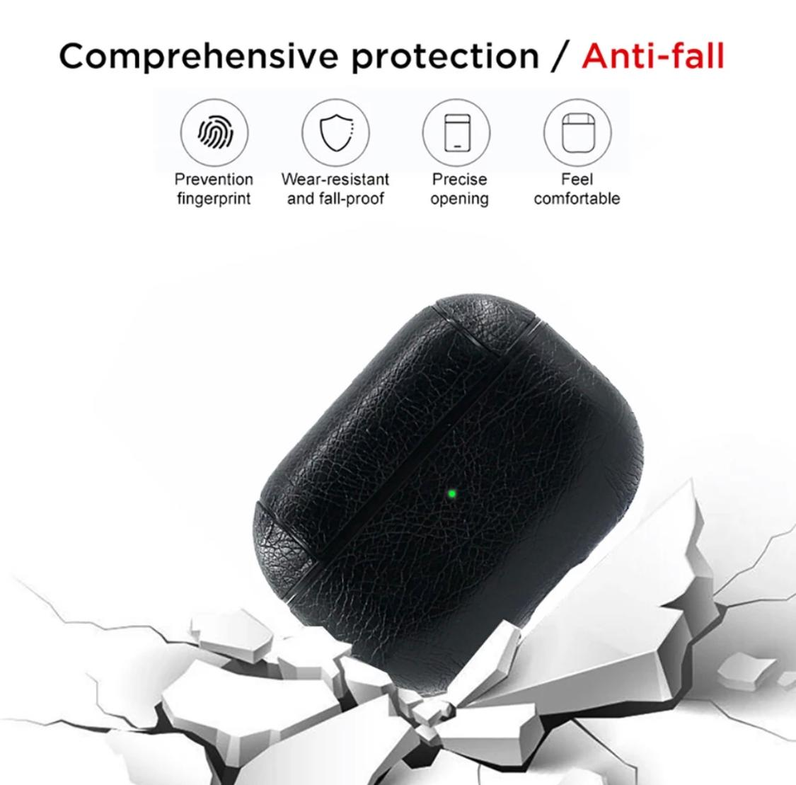 Protective Case For New Apple Air Pods Pro Leather Wireless Charging Case Protective Cover Black