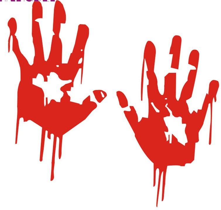 Bloody Hand Reflective Car Bumper Body Sticker