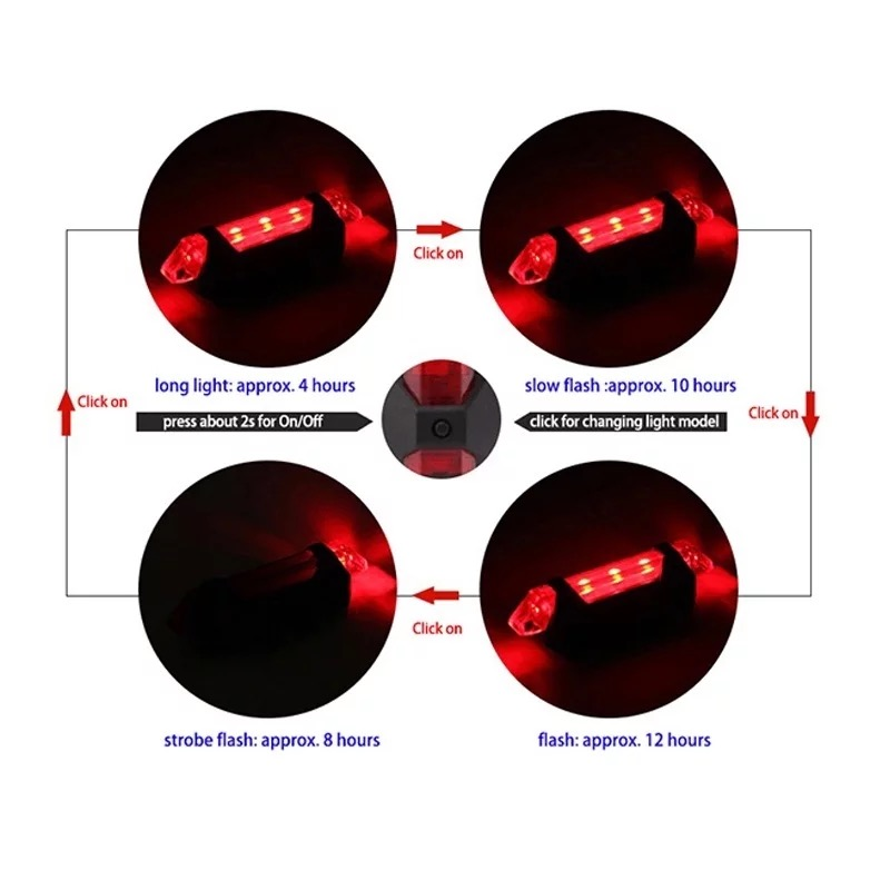 1pc Portable Red Bicycle Tail Light Safety Rechargeable Night Light