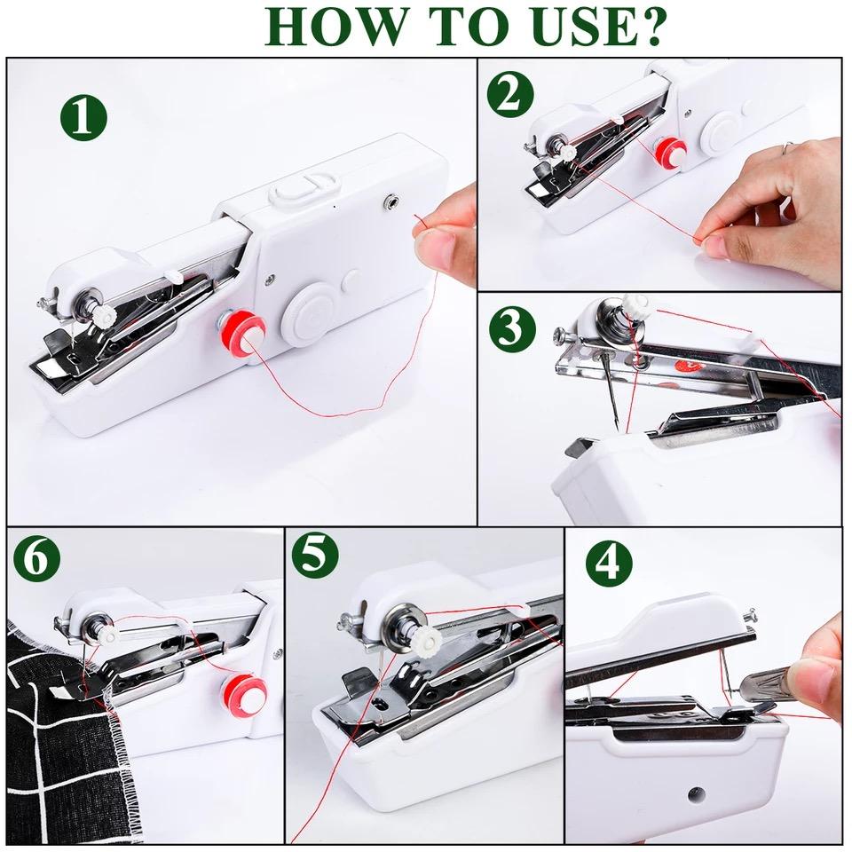 Mini Portable Handheld Sewing Machines Stitch Sew Needlework Cordless Clothes Fabrics Electric Sewing Machine Stitch Set