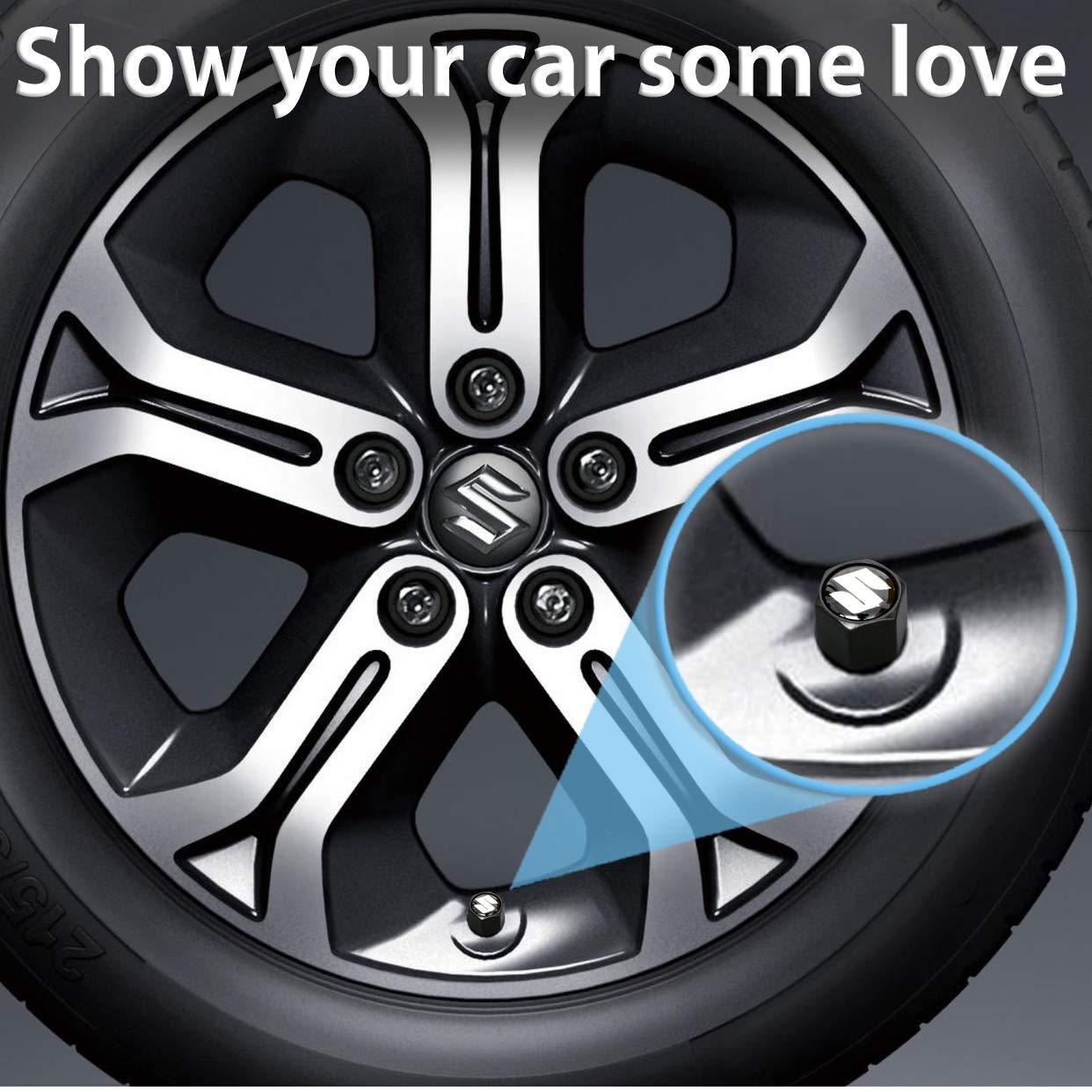 4X S.u.z.u.k.i Logo Car Wheel Tyre Valves Dust Stems Air Caps + Keychain