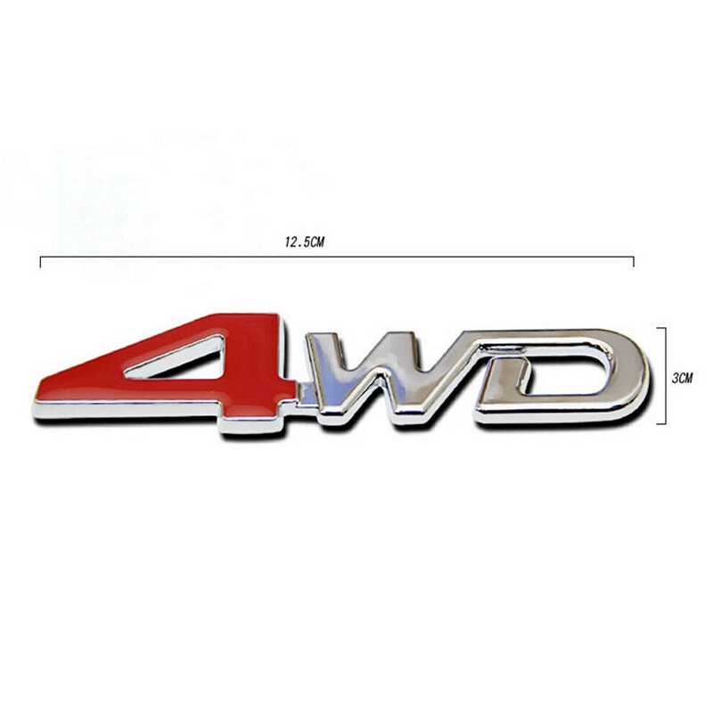 3D 4WD Logo Red and Silver 4 Wheel Drive Chrome Sticker Metal