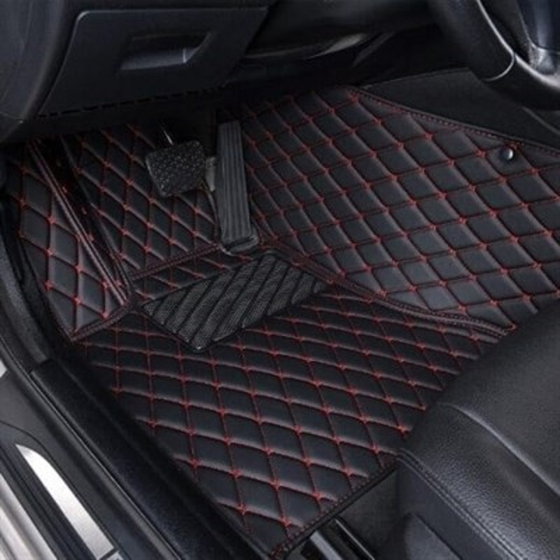 7D Luxury Floor Mats for H.o.n.d.a C.i.t.y 2009-2019 Black with Red Stitching