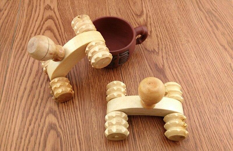 4 Wheels Wooden Massager