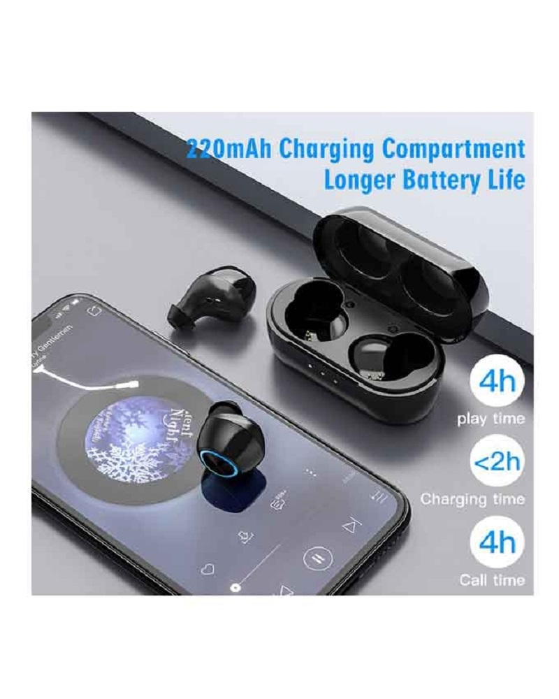 Remax TWS-16 True Wireless Bluetooth Earbuds With Charging Box - Black