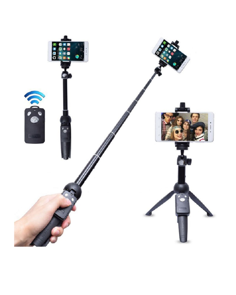 Yunteng YT-9928 2 in 1 Mini Tripod Selfie Stick with Phone Holder Remote Controller - Black