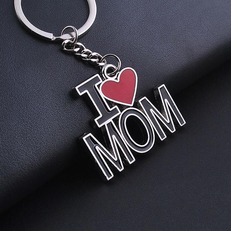 I LOVE MOM Key Chains Fashion Metal Key Rings