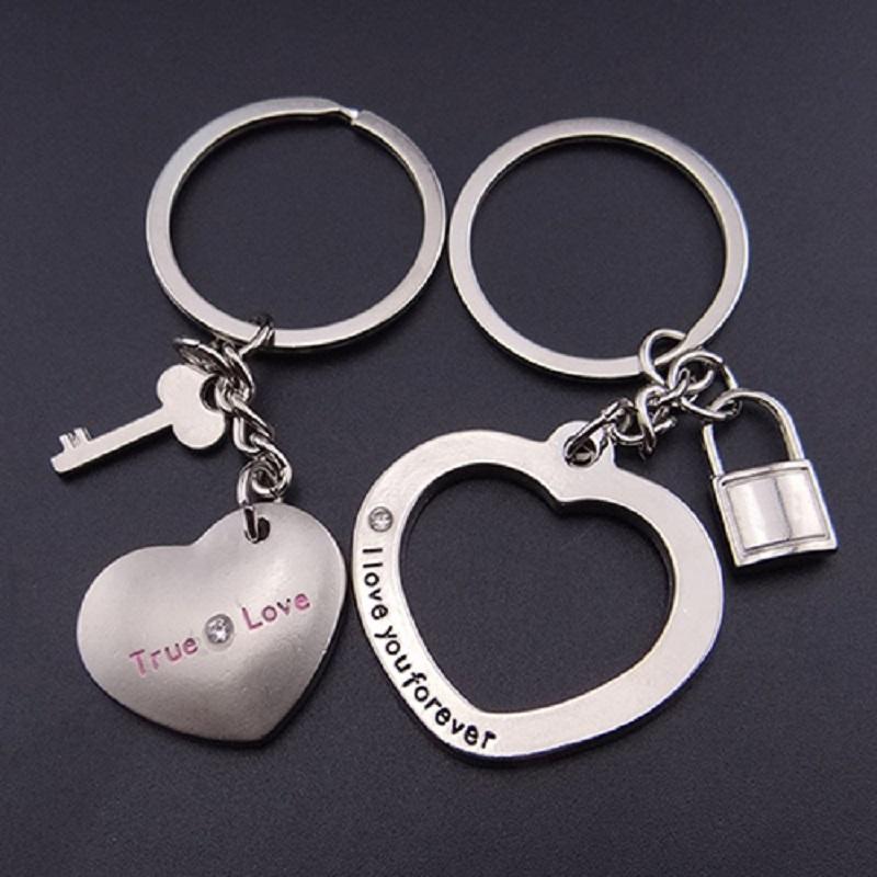 1 Pair New Love Heart Lock Key Chain Ring Key Ring
