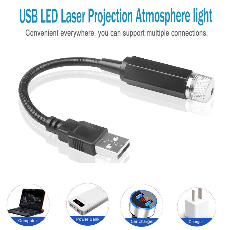 Universal USB LED Car Atmosphere Starry Laser Projection Light Auto Interior Decorative Light