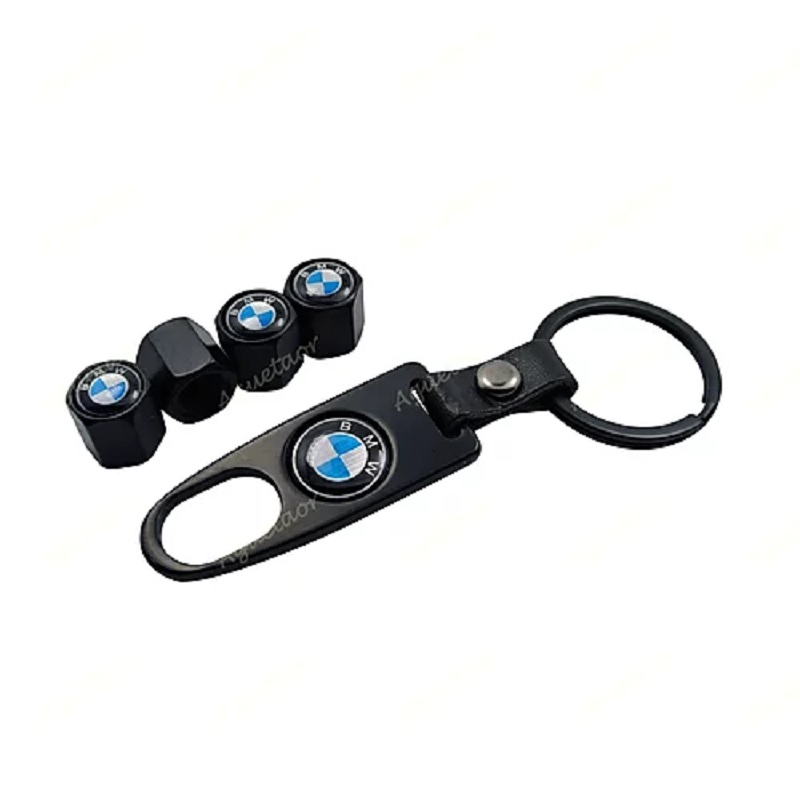 4X B.M.W Logo Car Wheel Tyre Valves Dust Stems Air Caps + Keychain
