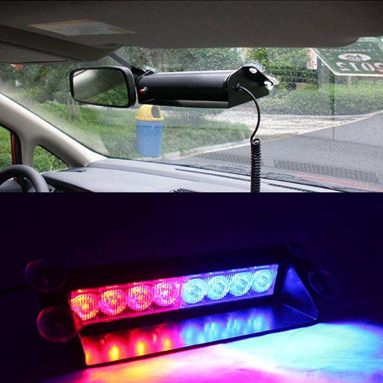 8 LED Red and Blue Police Flash Light For Dashboard