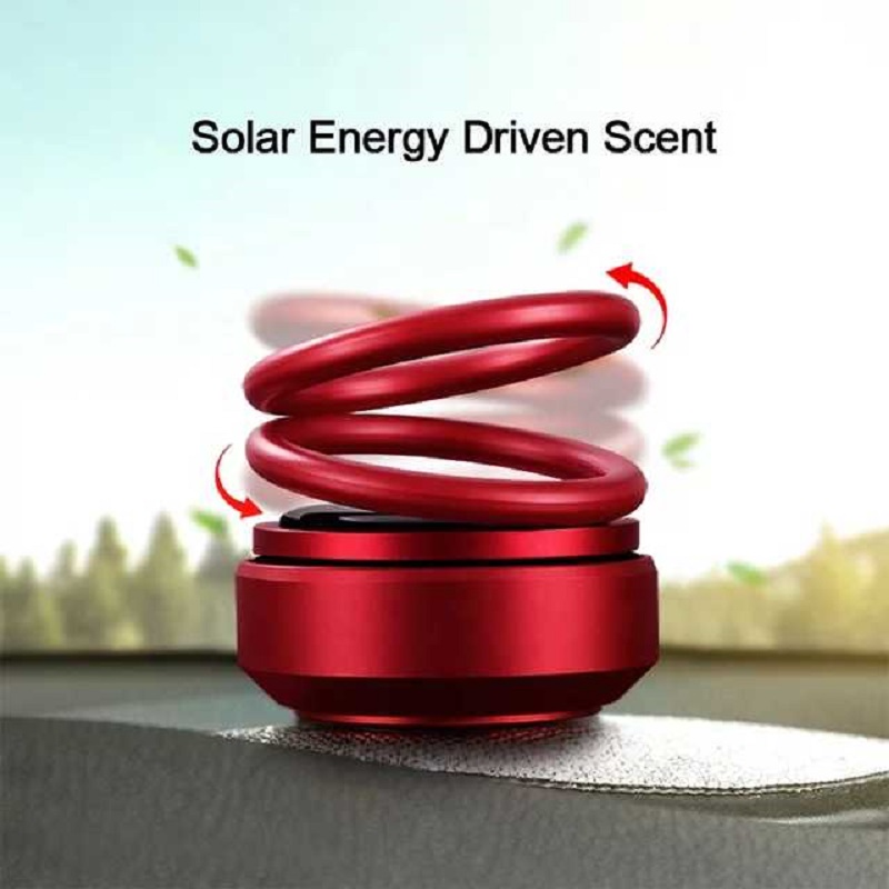 Auto Car Double Ring Rotating Solar Energy Car Air Freshener Red