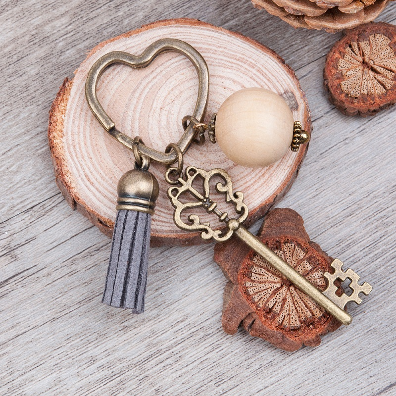 Doreen Box Antique Bronze heart Key Chains and Key Rings Vintage
