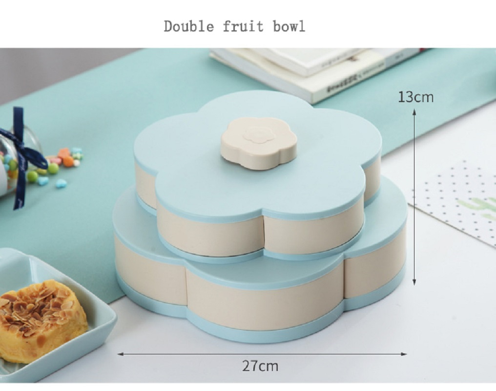 Pattern Rotation 2-layer Petal Candy Box Nut Case Snack Storage Box