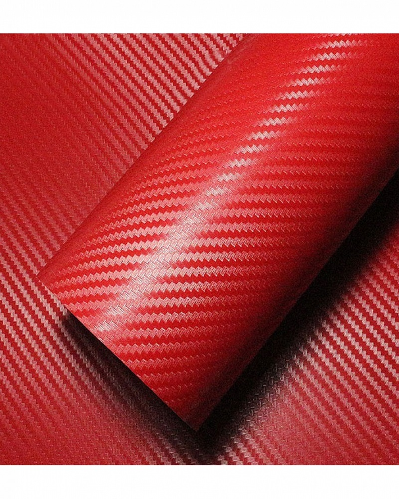 Universal Laptop Back Skin Carbon Fiber Texture - Red