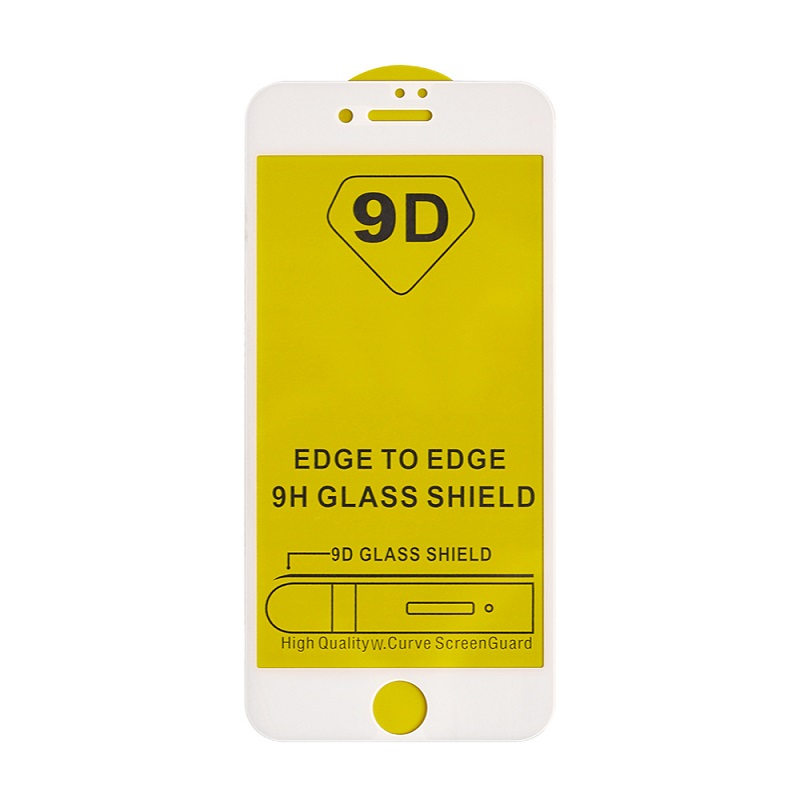 9D iPhone 7 & 8 Plus Glass Screen Protector White