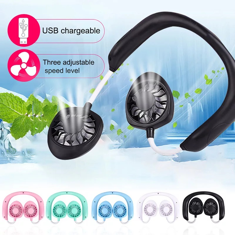 Rechargeable Portable Dual Head Neck Fan
