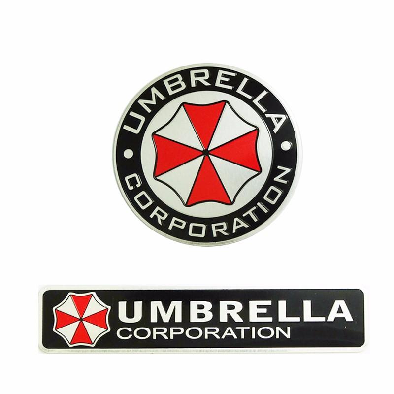 2 pcs 3D Aluminum Umbrella Corporation Car Logo