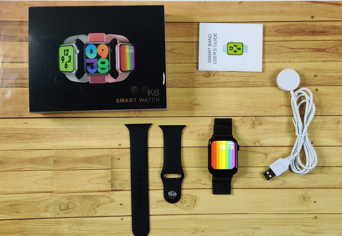 K8 Smart Watch Full Screen With Rotating Key Heart Rate Monitor Fitness Tracker