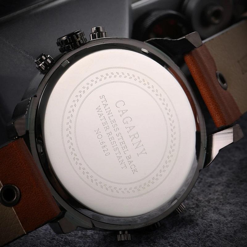 52MM Big Case Dual Time Display Waterproof C.a.g.a.r.n.y Men Wrist Watch