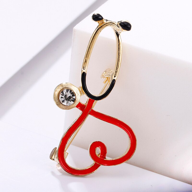 Steth-oscope Heart Shaped Brooch Pin