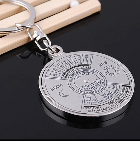 Pack Of 4 50 Years Perpetual Calendar Key Chain Silver Alloy