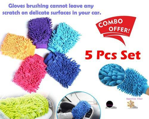 Pack Of 5 Easy Microfiber Car Washing Cleaning Glove