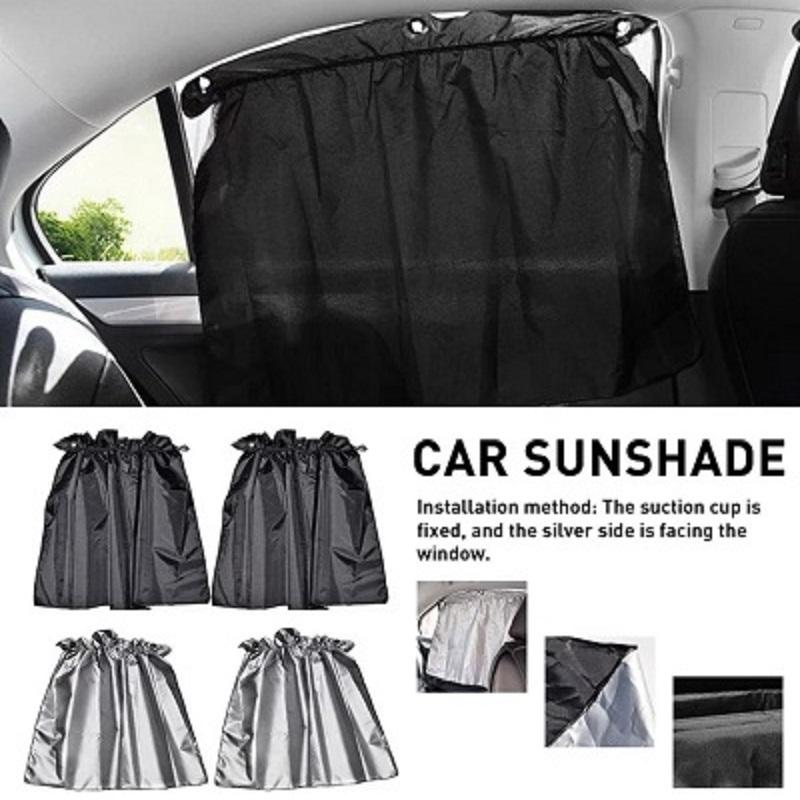 4 PCS Set Sucker Fixing Car Sunshade Curtains Silver Coating Cloth