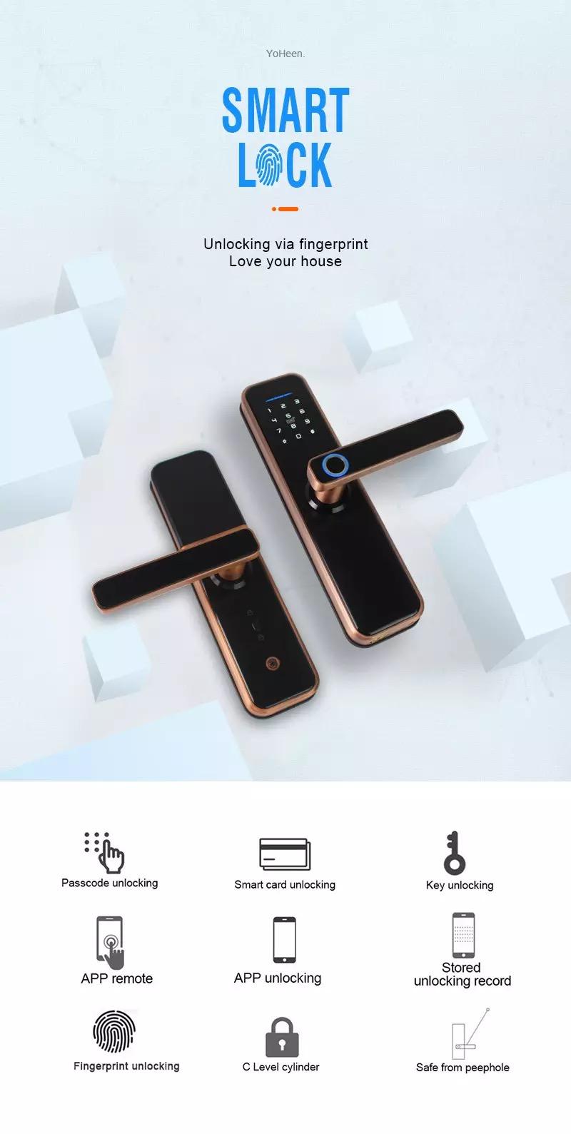 Electronic Smart Door Lock With TTLock App,Security Biometric Fingerprint Intelligent Lock With Passcode RFID