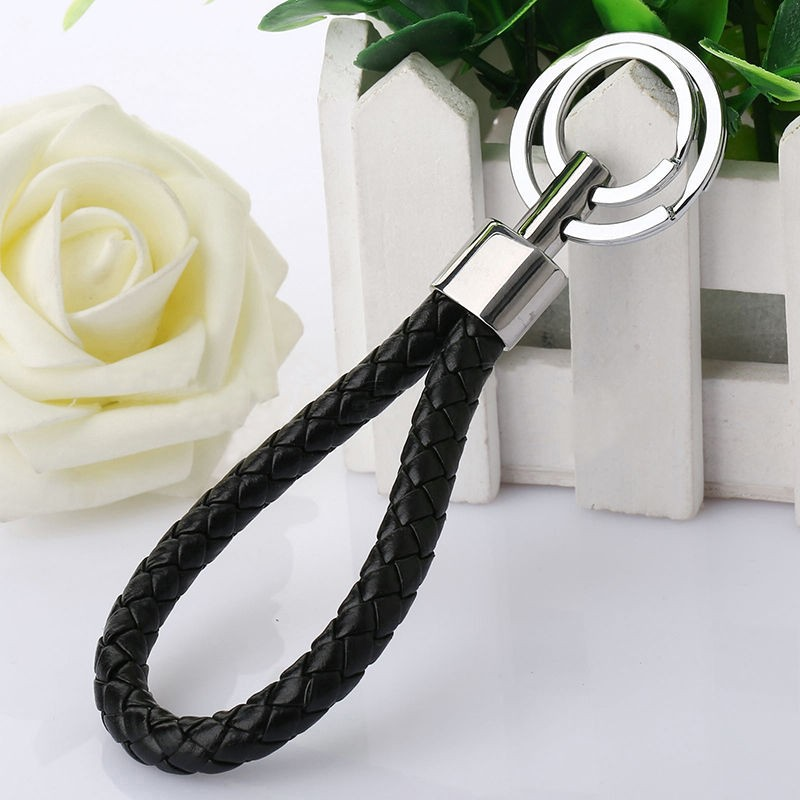 Leather Strap Weave Rope Double Ring Car Key Ring