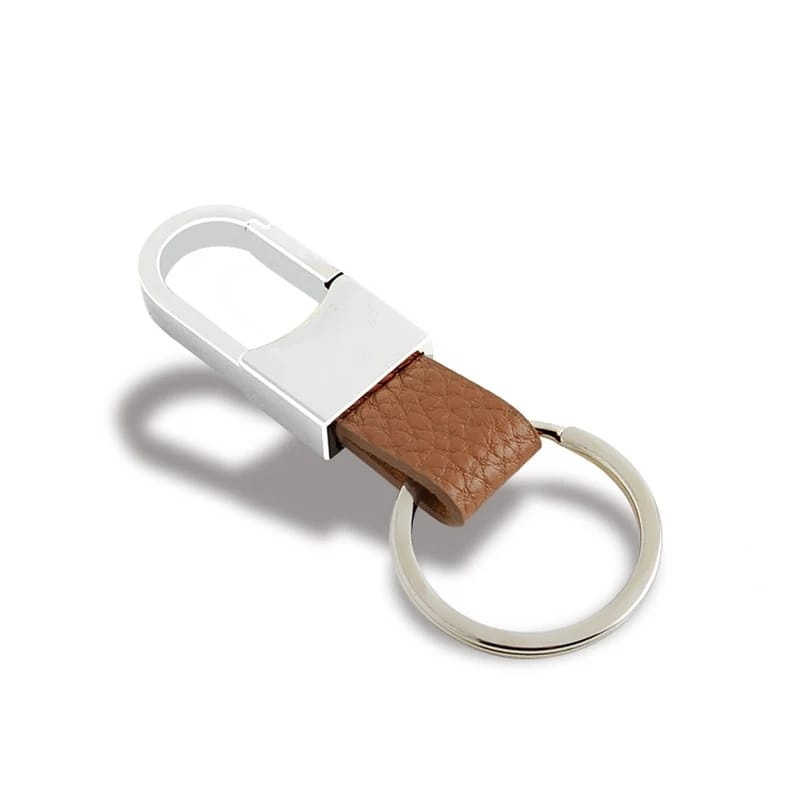 Creative Men's Brown Leather Strap Key Ring