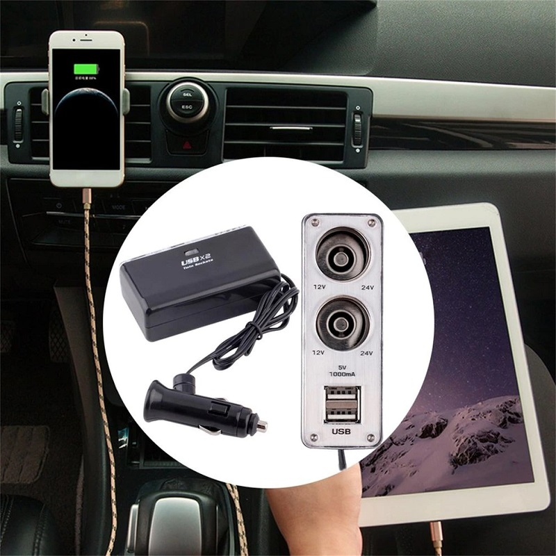 Universal Dual Plug and 2 USB Ports For Car Charger Adapter
