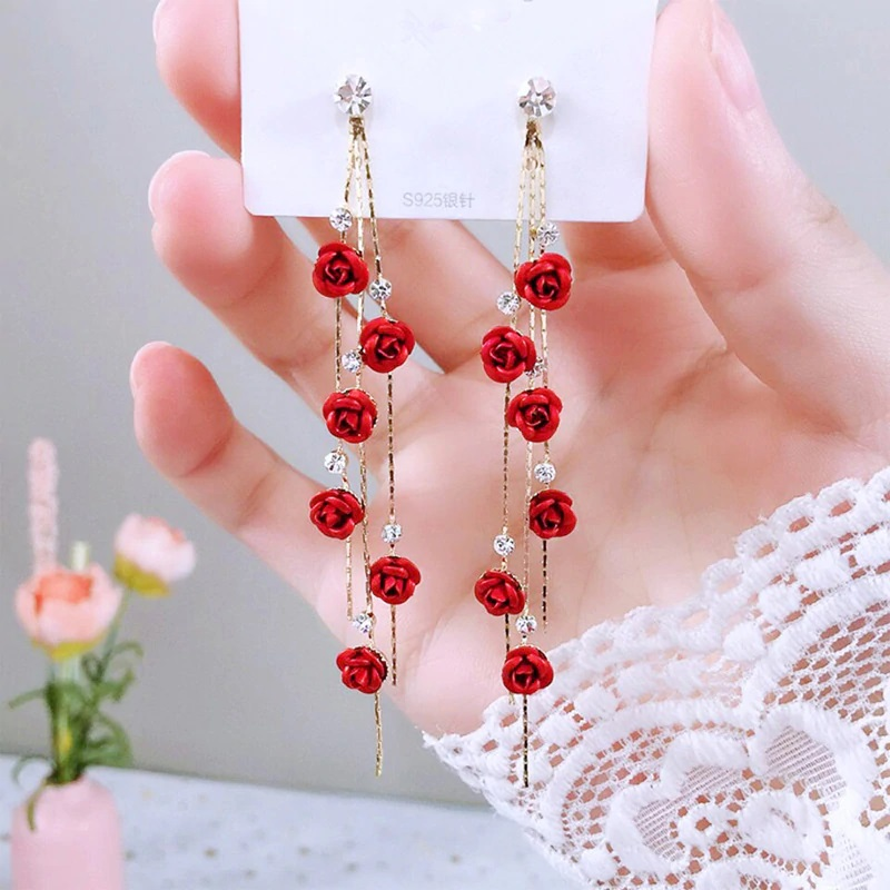 Rose Flower Tassel Earrings for Women