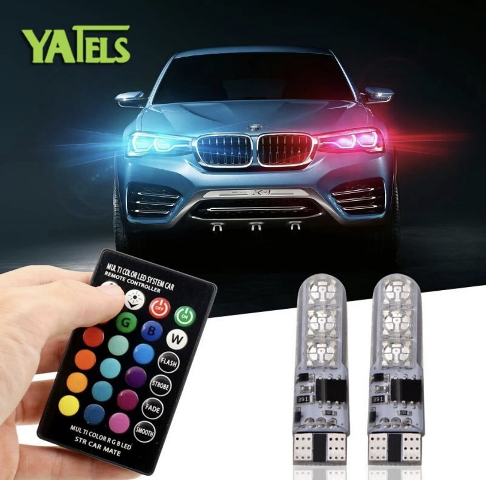 CAR PARKING LIGHT (MULTICOLOR BY REMOTE)RGB T10 W5W Led Car Clearance Lights SMD RGB T10 LED 194 168 Bulb Remote Width Interior Lighting Source Car Styling