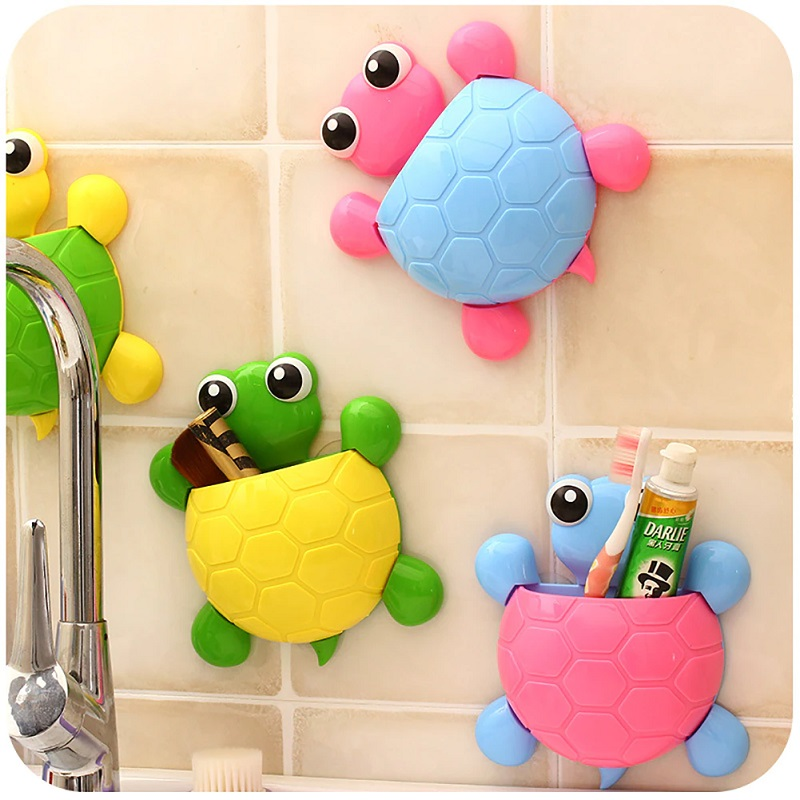 Turtle Design Wall Suction Cup Toothpaste Holder