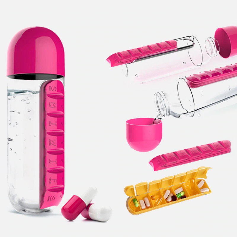 600ML Water Bottle With Pill Case