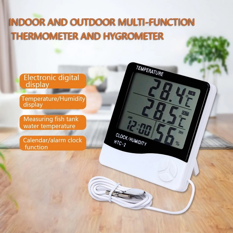 Indoor Outdoor Digital Thermometer Hygrometer Electronic LCD Temperature Humidity Meter