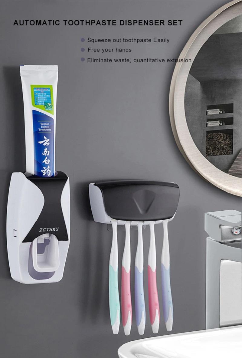 Toothpaste Dispenser+Toothbrush Wall Mount Holder