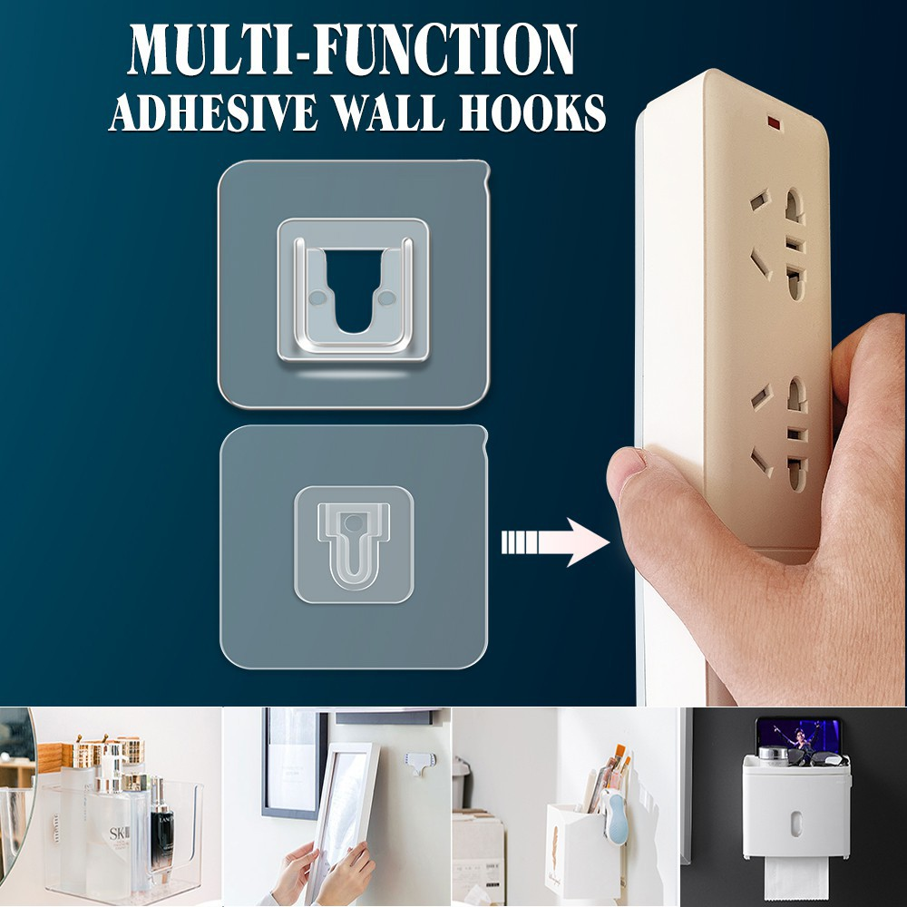 Pack of 6 Double Sided Adhesive Wall Hooks