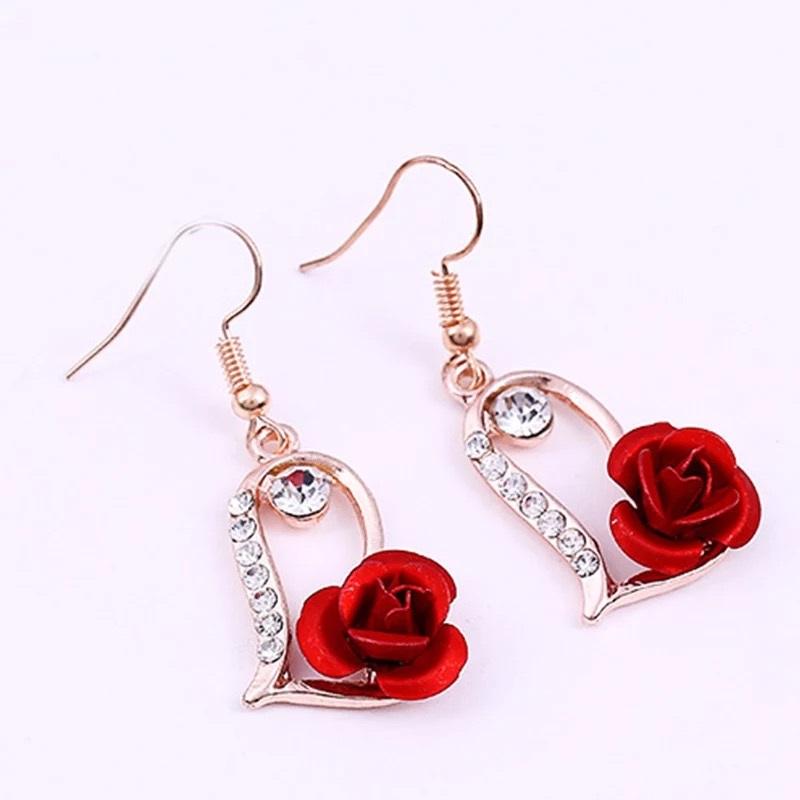 Red Rose Rhinestone Flower Drop Earring
