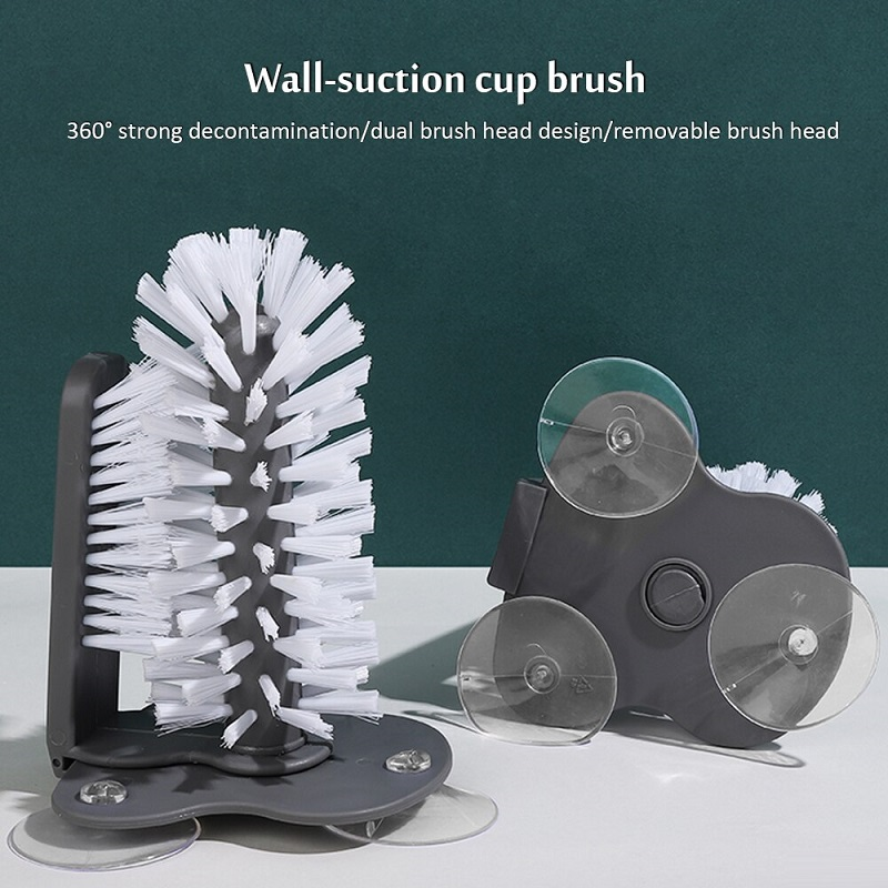 Glass Washer With Double Sided Bristle Brush Cleaner With Suction Cup
