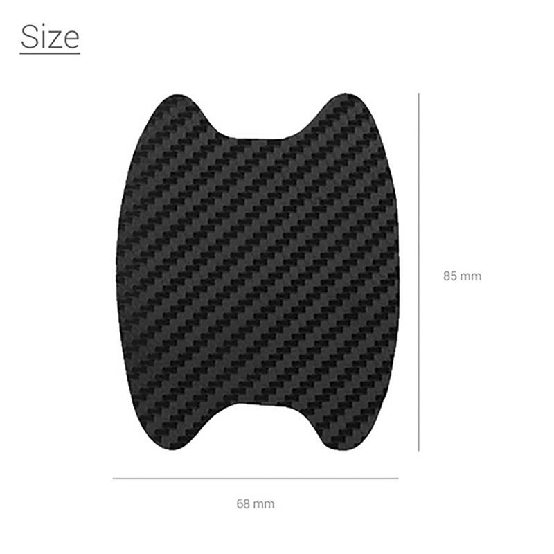 4Pcs Car Door Black Fiber Handle Sticker